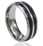 Men's Titanium Ring with Dual Rows of Black Carbon Fiber and Polished Edges | 8mm - MT0190