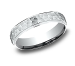 Men's Hammered White Gold Wedding Ring with Polished Edges | 4mm