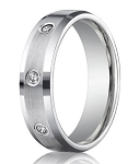 Designer Platinum Wedding Band With 8 Bezel Set Diamonds | 6mm