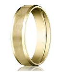 Comfort-fit 18K Yellow Gold Wedding Band with Beveled Edge Satin Finish – 4 mm - MB1186