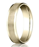 Comfort-fit 14K Yellow Gold Wedding Band with Beveled Edge Satin Finish – 8 mm - MB1027