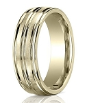 Comfort-Fit 14K Yellow Gold Wedding Band with Designer Engraved Polished Finish – 8 mm - MB1129
