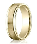 Comfort-Fit 14K Yellow Gold Wedding Band with Designer Engraved Satin Finish – 6 mm - MB1137