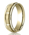 Comfort-Fit 14K Yellow Gold Wedding Band with Designer Engraved Satin Finish – 4 mm - MB1135