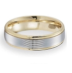 Comfort-Fit 14K Yellow & White Gold Wedding Band with Two-Toned Spun Satin Finish – 6 mm - MB1145
