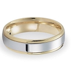 Comfort-Fit 14K Yellow & White Gold Wedding Band with Two-Toned Polished Finish – 6 mm - MB1147