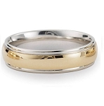 Comfort-Fit 14K Yellow & White Gold Wedding Band with Two-Toned Polished Finish – 8 mm - MB1149