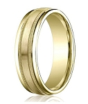 Comfort-Fit 14K Yellow Gold Wedding Band with Designer Spun Satin Finish – 4 mm - MB1155