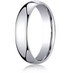 Comfort-Fit 18K White Gold Domed Wedding Band with Polished Finish – 6 mm - MB1181