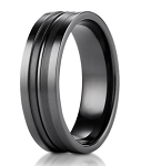 Designer Men's Black Titanium Ring with Squared Polished Edges | 8mm - MBT1002