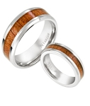 Unique His and Hers Titanium Rings with Koa Wood Inlay
