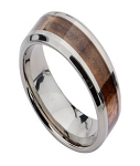 Titanium Wedding Ring for Men with Hawaiian Mango Wood Inlay | 8mm