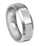 Comfort-fit Tungsten Carbide Wedding Ring with Beveled Edges and Polished Finish - 7 mm - MTG0011