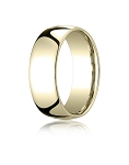 Designer 14K Yellow Gold Wedding Ring with Domed Comfort Fit – 8 mm - MB1018