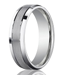 Designer Platinum Men's Band With Polished Beveled Edges | 6mm