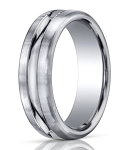 Designer Platinum Band With High Polished Center Cut | 7.5mm