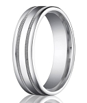 Designer Platinum Wedding Band With Milgrain Details | 6mm