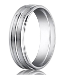 Designer Platinum Wedding Ring With Polished Center Trim | 6mm