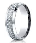 Designer Platinum Men's Wedding Band With Hammered Finish | 7.5mm
