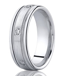Designer Platinum Men's Band With 6 Bezel Set Diamonds | 8mm