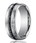 Designer Platinum Band With 20 Burnish Set Black Diamonds | 7.5mm