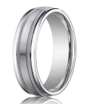Palladium Wedding Ring with Satin Finished Center, Milgrain Décor and Polished Edges | 6mm -  MB0183