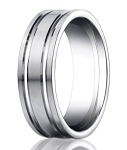 Palladium Wedding Band with Two Polished Grooves | 8mm