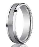 Palladium Wedding Band with Beveled Edges and Dual Finish | 6mm