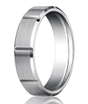 Palladium Men's Wedding Ring with Vertical Grooves | 6mm