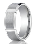 Palladium Men's Wedding Band with Vertical Grooves and Polished Edges | 8mm