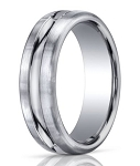 Palladium Wedding Ring with Carved Polished Center | 7.5mm