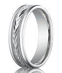 Palladium Wedding Band with Chevron and Milgrain Design | 6mm