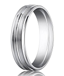 Palladium Wedding Band with Polished Center Trim | 6mm