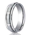 Palladium Wedding Ring with 8 Polished Vertical Grooves | 6mm