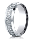Designer Palladium Ring With Hammered Finish Center  | 7.5mm
