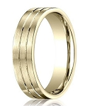 Satin-Finished 10K Yellow Gold Designer Wedding Ring with Polished Grooves | 6mm - MB0307