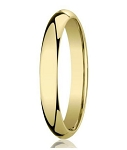 Designer 10K Yellow Gold Wedding Band with Domed Comfort Fit – 3mm - MB1001