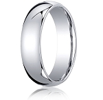 Designer 10K White Gold Wedding Band with Domed Comfort Fit – 6 mm - MB1010