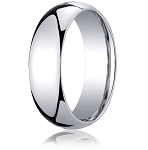 Designer 10K White Gold Wedding Band with Domed Comfort Fit – 7 mm - MB1011