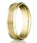 Comfort-fit 14K Yellow Gold Wedding Band with Beveled Edge Satin Finish – 4 mm - MB1025