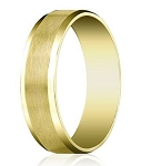 Comfort-fit 14K Yellow Gold Wedding Band with Beveled Edge Satin Finish – 6 mm - MB1026