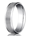 Comfort-fit 14K White Gold Wedding Band with Beveled Edge Satin Finish – 4 mm - MB1028
