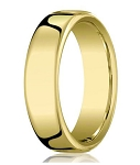 Comfort-fit 18K Yellow Gold Wedding Band with Nouveau-fit Polished Finish – 7.5 mm - MB1199