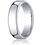 Comfort-fit 18K White Gold Wedding Band with Nouveau-fit Polished Finish – 6.5 mm - MB1196