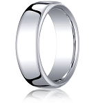 Comfort-fit 18K White Gold Wedding Band with Nouveau-fit Polished Finish – 7.5 mm - MB1198