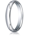 Designer 3 mm Domed Milgrain Polished Finish with Comfort-fit 10K White Gold Wedding Band - MB1047