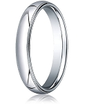 Designer 4 mm Domed Milgrain Polished Finish with Comfort-fit 10K White Gold Wedding Band - MB1048