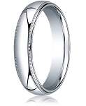 Designer 5 mm Domed Milgrain Polished Finish with Comfort-fit 10K White Gold Wedding Band - MB1049