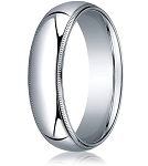 Designer 6 mm Domed Milgrain Polished Finish with Comfort-fit 10K White Gold Wedding Band - MB1050