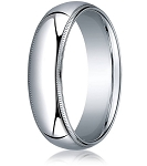 Designer 7 mm Domed Milgrain Polished Finish with Comfort-fit 10K White Gold Wedding Band - MB1051